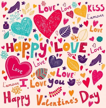 romanticismo: Vector art di San Valentino Biglietto di auguri Vettoriali