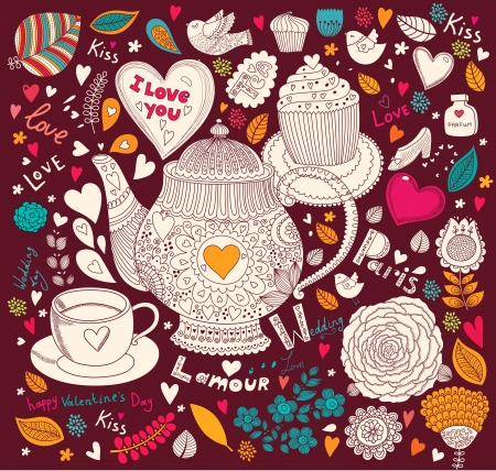Vector art hand drawn holiday card with cupcake and teapot Stock Vector - 17693865