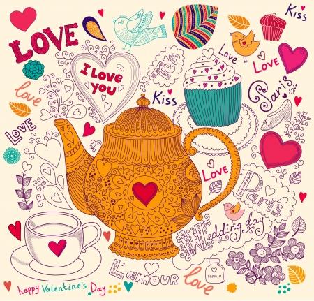 Vettore d'arte disegnata a mano carta di soggiorno con cupcake e teiera