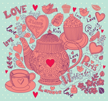 Vector art hand drawn holiday card with cupcake and teapot Stock Vector - 17693880