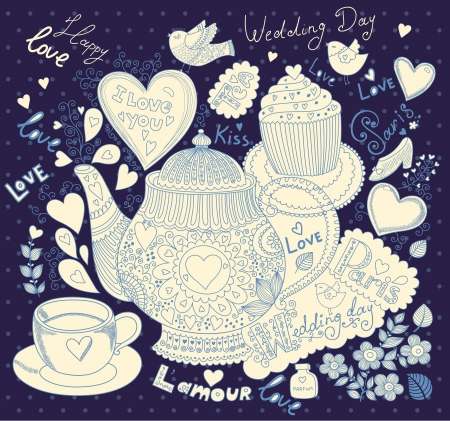 Vector art hand drawn holiday card with cupcake and teapot Ilustrace