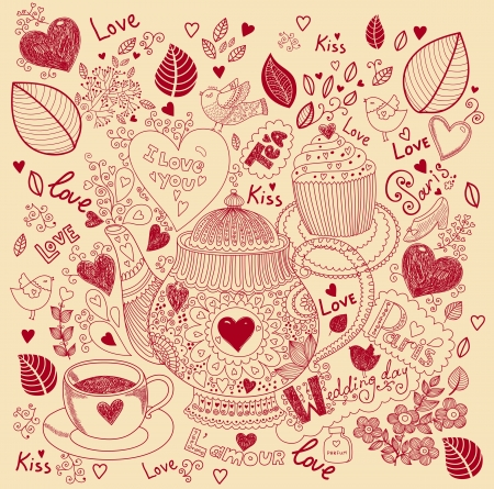 cup: Vector art hand drawn holiday card with cupcake and teapot Illustration