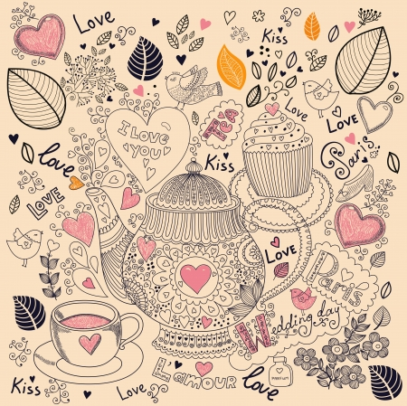 矢量藝術手繪節日卡,蛋糕和茶壺