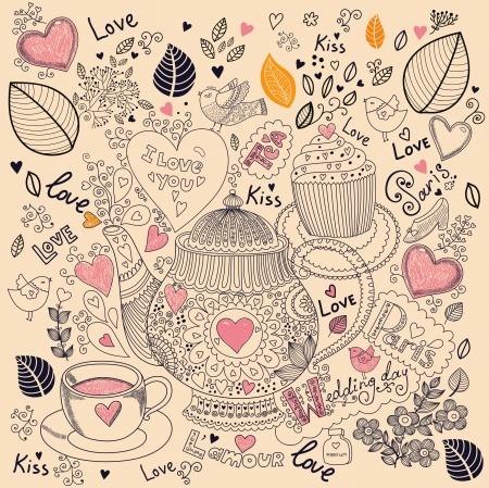 Vector art kézzel rajzolt üdülési kártya cupcake és teáskanna