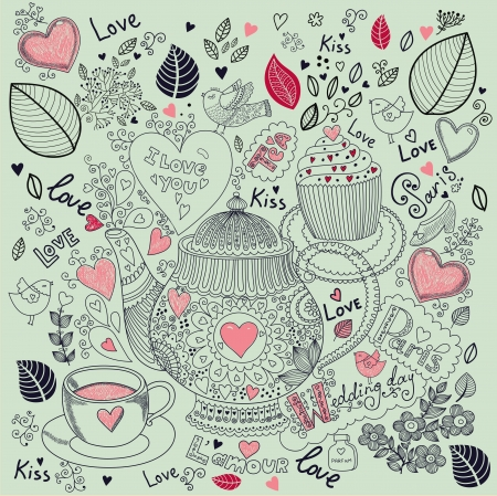 Vector art hand drawn holiday card with cupcake and teapot Stock Vector - 17693873