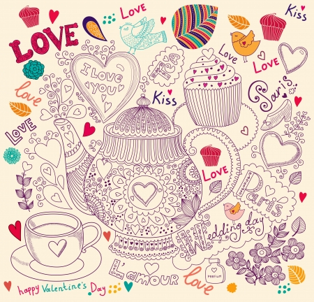 cup cakes: Arte del vector dibujado a mano tarjeta de vacaciones con la magdalena y la tetera Vectores