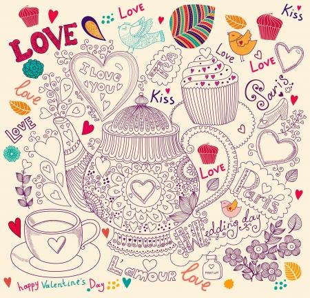 Vector art Hand gezeichnet Ferien-Karte mit Kuchen und Teekanne