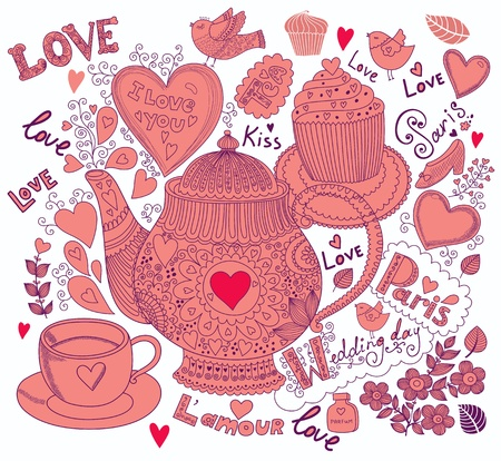 Vector art hand drawn holiday card with cupcake and teapot Stock Vector - 17693868