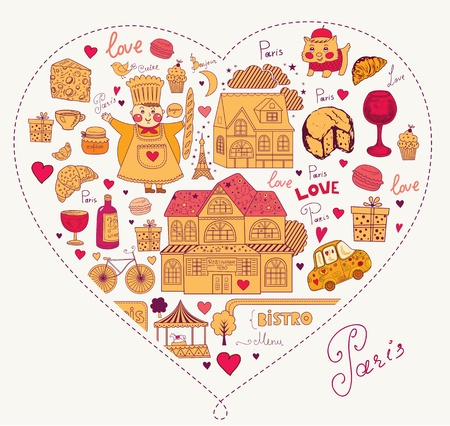 diary cover design: Vector set of Paris symbols