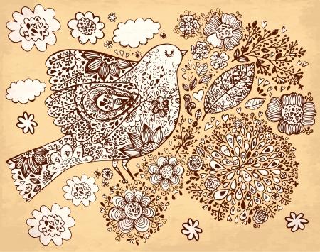 새와 꽃과 손으로 그린 빈티지 그림 일러스트