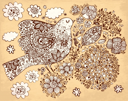 sepia: hand drawn vintage illustration with bird and flowers Illustration