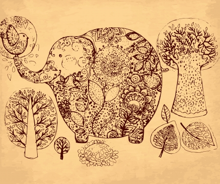 hand drawn illustration with elephant Vector