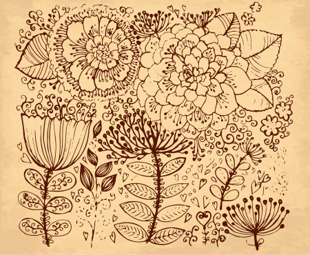 hand drawn vintage illustration with flowers Vector
