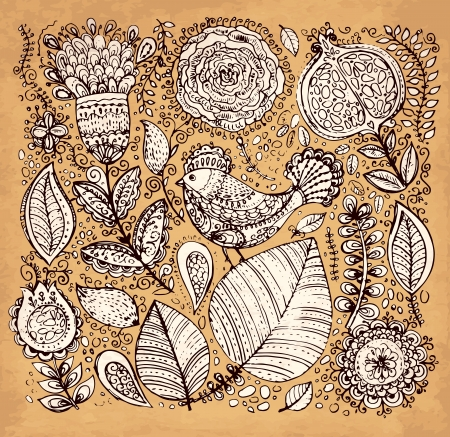 hand drawn vintage illustration with flowers and bird Stock Vector - 17922017