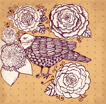 hand drawn vintage illustration with flowers and bird Vector