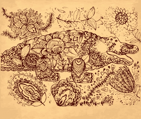 hand drawn illustration with crocodile Stock Vector - 17922122