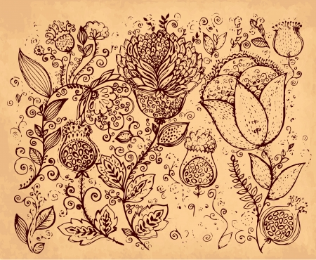 hand drawn vintage illustration with flowers Stock Vector - 17921952