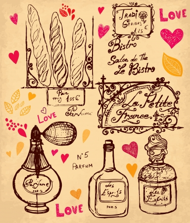 french perfume: hand drawn illustration with symbols of France