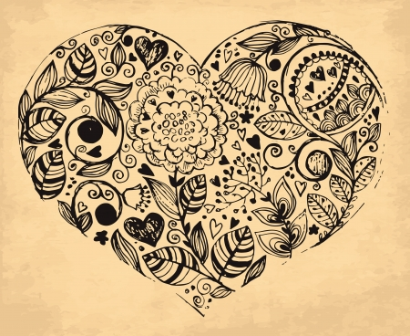 hand drawn vintage illustration with heart Stock Vector - 17922019