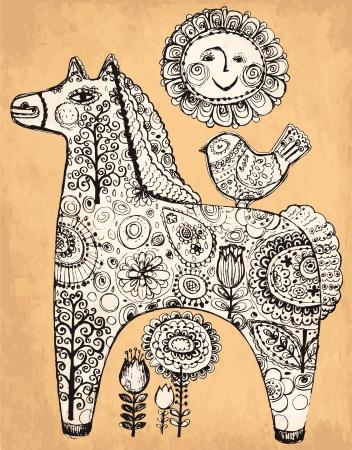 手描きの装飾的な馬とヴィンテージのイラスト