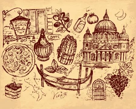 venice italy: hand drawn illustration with Italian symbols Illustration