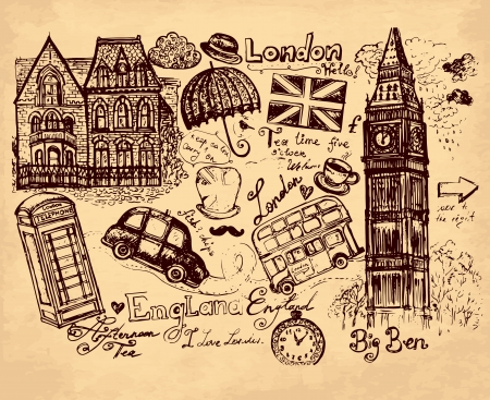 hand drawn illustration with London symbols Ilustrace