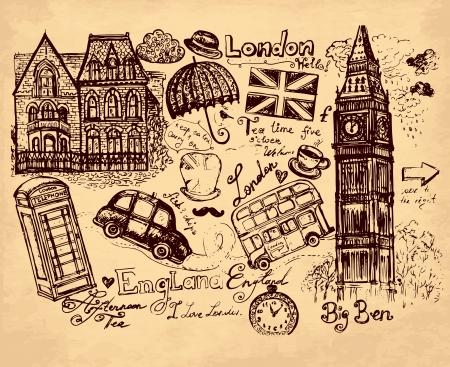 english bus: hand drawn illustration with London symbols Illustration