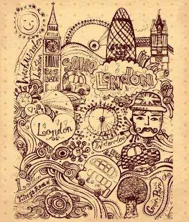 sketchbook: hand drawn illustration with London symbols Illustration