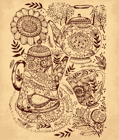 hand drawn illustration with coffee pot, tea pot and cup Stock Vector - 17922124