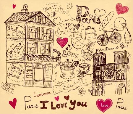 bistro cafe: hand drawn illustration with Paris symbols