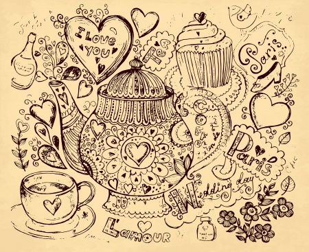 hand drawn illustration with tea pot Vector
