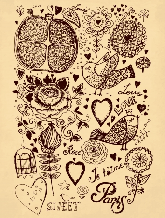 hand drawn vintage illustration with flowers and birds Vector