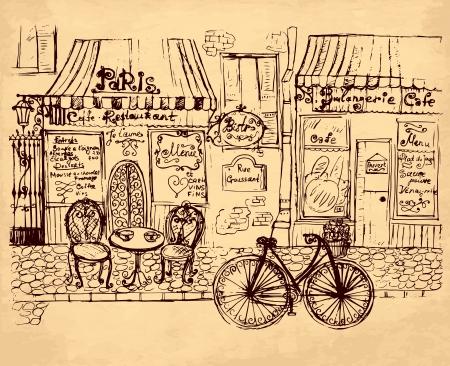 vintage cafe: illustrazione disegnata a mano