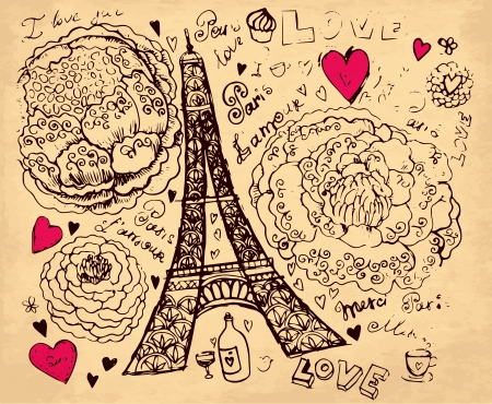 hand drawn illustration with Pais Eiffel tour Vector