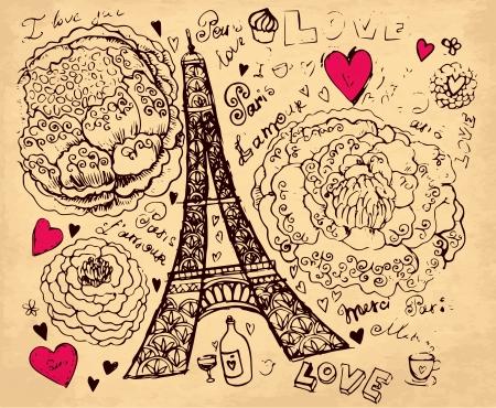 sketchbook: hand drawn illustration with Pais Eiffel tour