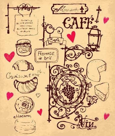 cuisine fran�aise: dessin�s � la main illustration avec cuisine fran�aise