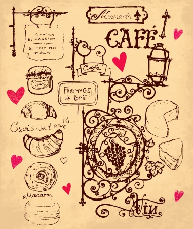 french cafe: hand drawn illustration with french food