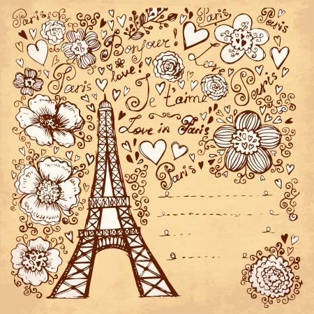 hand drawn illustration with Pais Eiffel tour