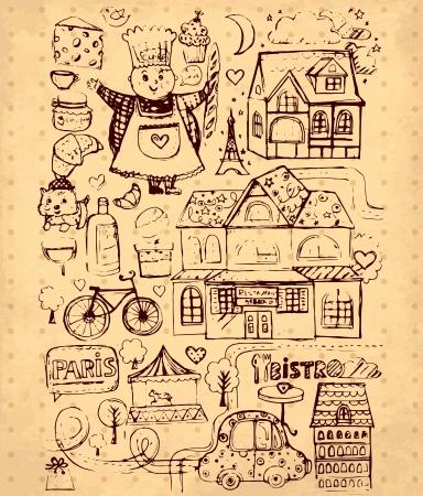 france stamp: hand drawn illustration with Paris symbols