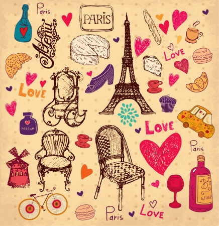 french label: hand drawn illustration with Paris symbols