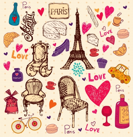 sketchbook: hand drawn illustration with Paris symbols