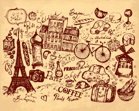 dibujado a mano ilustración de símbolos de París