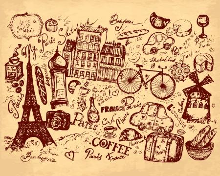 hand drawn illustration with symbols of Paris Stock Vector - 17922284