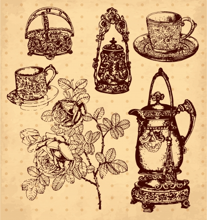 antique dishes: hand drawn illustration with antique dishes Illustration