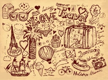 mano dibujado a mano ilustración lápiz dibujado en viajes temáticos Ilustración de vector