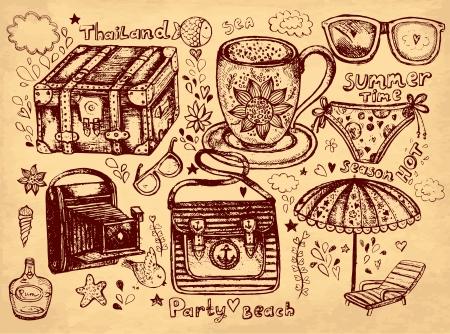 Hand gezeichnete Illustration Bleistift Hand gezeichnete Illustration auf Thema Reisen