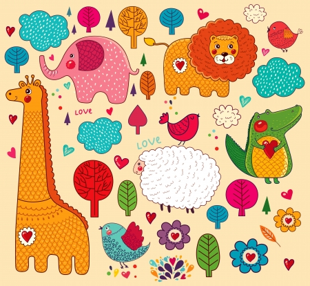 set of cartoon stickers with animals   Vector