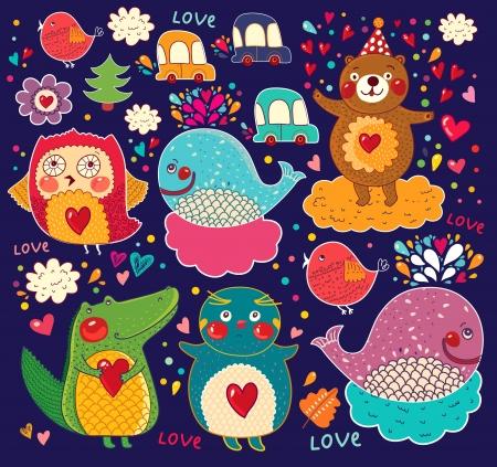 동물 만화 스티커의 집합