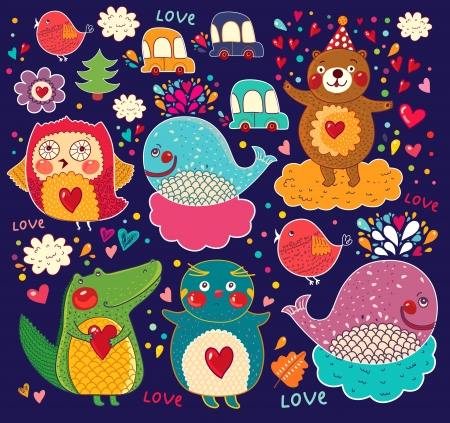 set of cartoon stickers with animals Фото со стока - 18183511