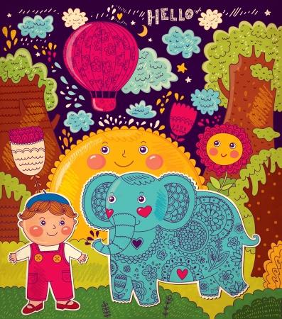 Illustrazione con elefante e ragazzo Archivio Fotografico - 18183538